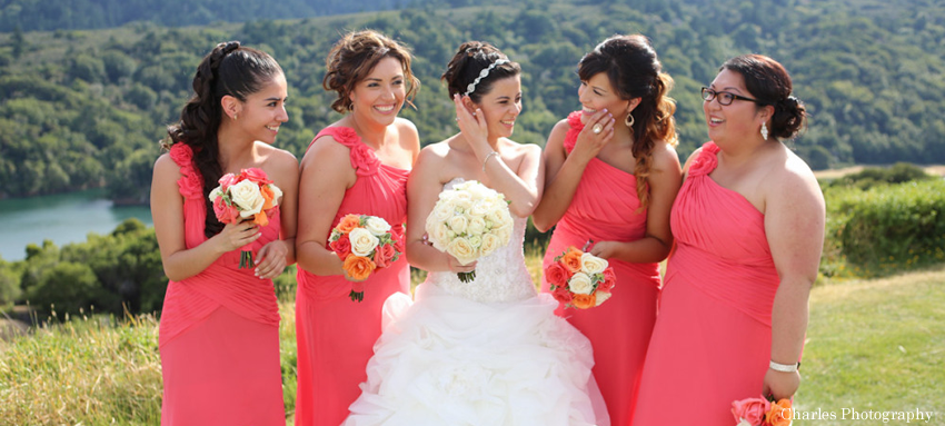 Hair and makeup photo of bride and bridesmaids